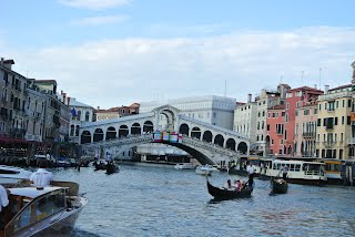 The Rialto Bridge on the Grand Canal in Venice, Italy